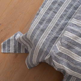 Indigo Linen Flat Sheet Stone Washed