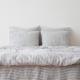 Indigo Housse de couette en Lin Ticking Stripe