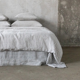 Graphite Housse de couette en Lin Ticking Stripe