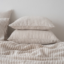 Natural Taie D'Oreiller en Lin Ticking Stripe