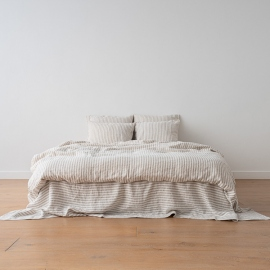 Natural Drap Plat en Lin Ticking Stripe