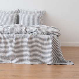 Indigo Drap Plat en Lin Ticking Stripe