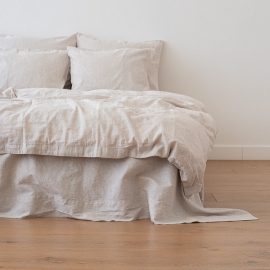 Natural Housse de Couette en Lin Pinstripe Washed