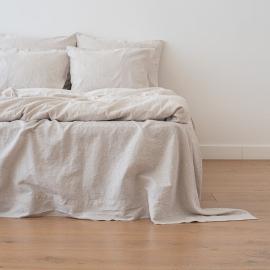 Natural Drap Plat en Lin Pinstripe Washed