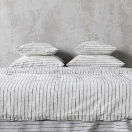 Graphite Housse de Couette en Lin Stripe Washed