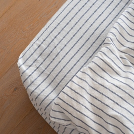 Indigo Drap Housse en Lin Stripe Washed