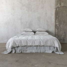 Graphite Parure de Lit en Lin Ticking Stripe
