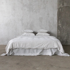 Graphite Parure de Lit en Lin Stripe Washed