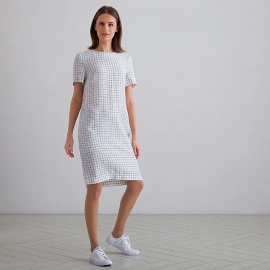 Off White Navy Window Pane Robe en Lin Isabella