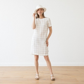 Off White Navy Check Robe en Lin Isabella