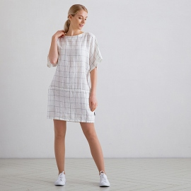 White Navy Window Pane Robe Tunique Lin Bianca