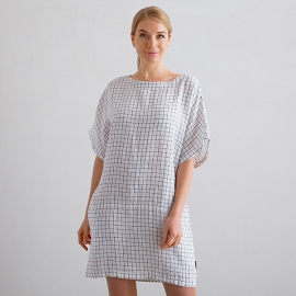 White Navy Check Robe Tunique Lin Bianca