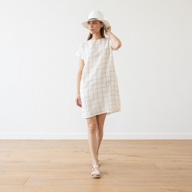 White Navy Window Pane Lin Robe Alice