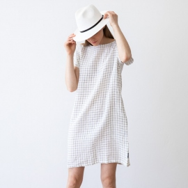 White Navy Checked Lin Robe Alice