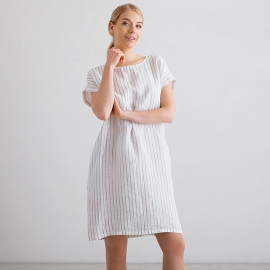 White Navy Stripe Medium Lin Robe Alice