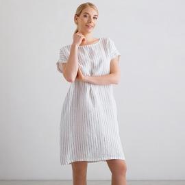 White Navy Stripe Medium Lin Robe Alice