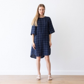 Navy Off White Window Pane Lin Robe Luisa