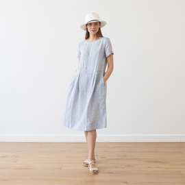 Navy Stripe Lin Robe Adel
