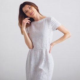 White Navy Checked Lin Robe Adel