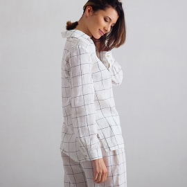 Off White Navy Window Pane Pyjama en Lin Alma