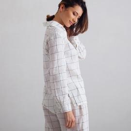 Off White Navy Window Pane Pyjama en Lin Alma
