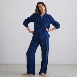 Navy Off White Stripe Large Pyjama en Lin Alma