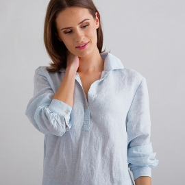 Sky Blue Pinstripe Pyjama en Lin Alma