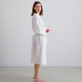 Off White Navy Window Pane Peignoir Longue en Lin Alma