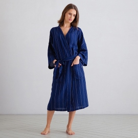 Navy Off White Large Stripe Peignoir Longue en Lin Alma
