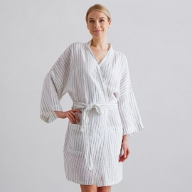 Off White Navy Stripe Medium Peignoir Courte en Lin Alma