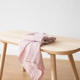 Set de serviettes de toilette, big nid d'abelle en lin Rosa