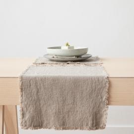Set de table Terra avec franges faites main, Naturel