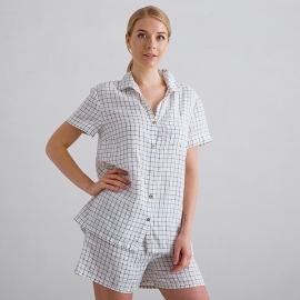 Off White Navy Check Pyjama Lin Emilia