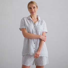 Off White Navy Check Pyjama Lin Emilia