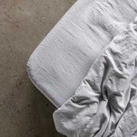 Graphite Drap Housse Bonnet Profond en Lin Pinstripe Washed