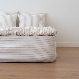 Natural Drap Housse Bonnet Profond en Lin Stripe Washed