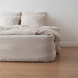 Natural Drap Housse Bonnet Profond Ticking Stripe