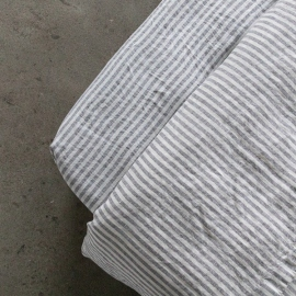 Graphite Drap Housse Bonnet Profond Ticking Stripe