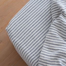 Indigo Drap Housse Bonnet Profond Ticking Stripe