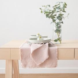 Serviette de table Terra avec franges faites main, Latté