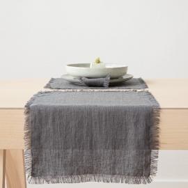 Set de table Terra avec franges faites main, Graphite