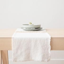 Set de table Terra avec franges faites main, Blanc Optique