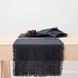 Set de table Terra avec franges faites main, Charcoal