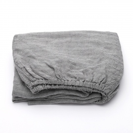 Gris Drap Housse Bonnet Profond Stone Washed Herringbone