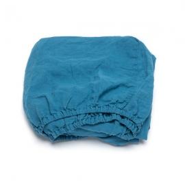 Sea Blue Drap Housse Bonnet Profond Stone Washed