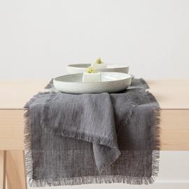 Serviette de table Terra avec franges faites main, Graphite