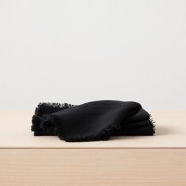 Serviette de table Terra avec franges faites main, Noir