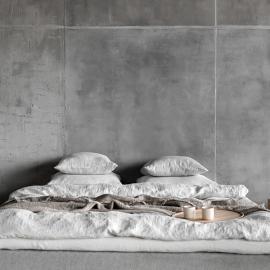 Argent Housse de Couette en Lin Stone Washed Rhomb