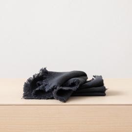 Serviette de table Terra avec franges faites main, Charcoal