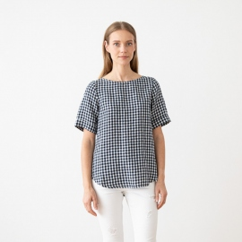 Navy White Check Chemisier en Lin Luisa